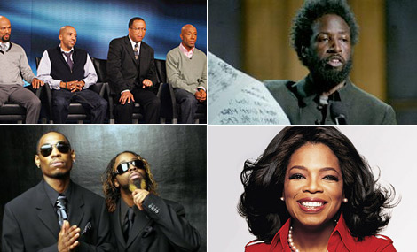 Clockwise: Hip Hop Town Hall on Oprah / Saul Williams / Oprah / Ying Yang Twins